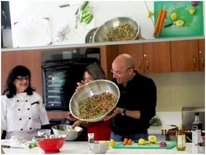 Margie cooking with Gil Hovav, Israel's Celebrity Chef