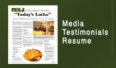 Margie's Kitchen Media, Testimonials & Resume